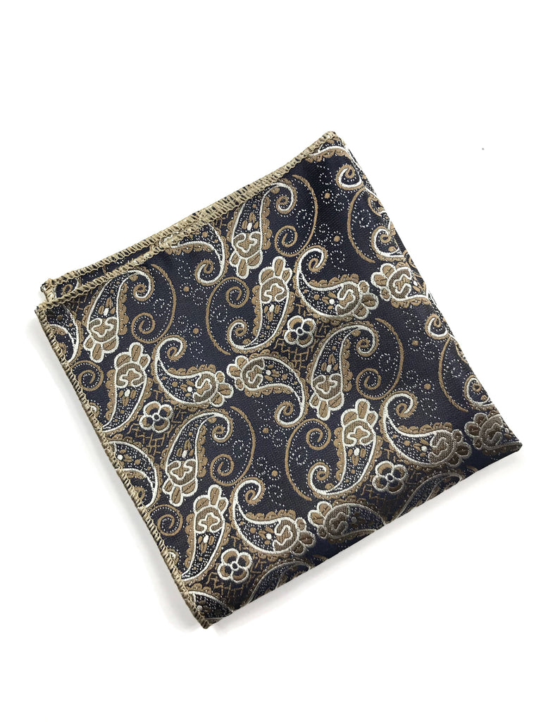 Navy and Tan Paisley Pocket Square