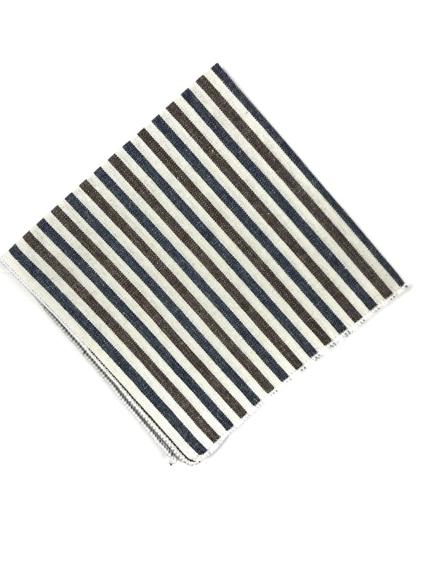 Navy and Brown Striped Pocket Square