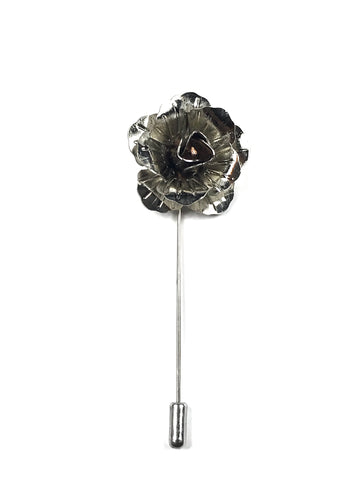 Silver Metal Rose Lapel Pin