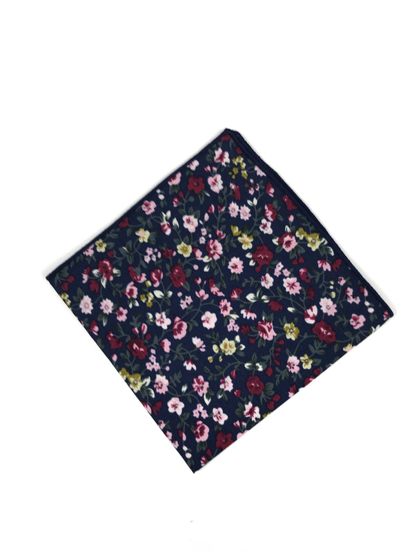 Navy Floral Pocket Square