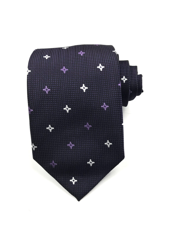 Purple Star Patterned Tie