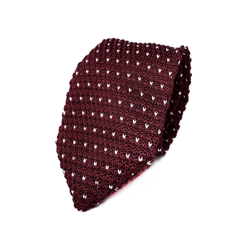 Burgundy and White Polka Dot Knit Tie