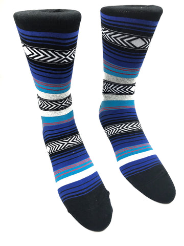 Black and Blue Striped Socks