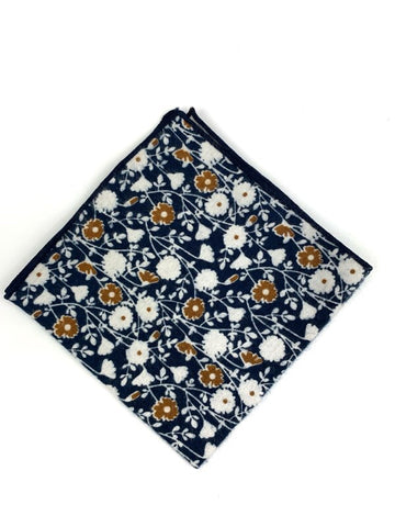 G+Co. Blue and Tan Pocket Square