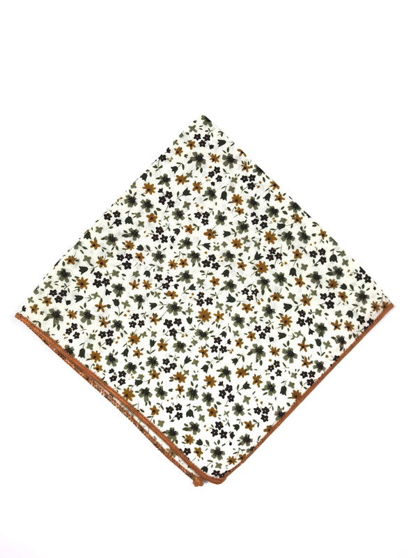 Tan and White Floral Pocket Square