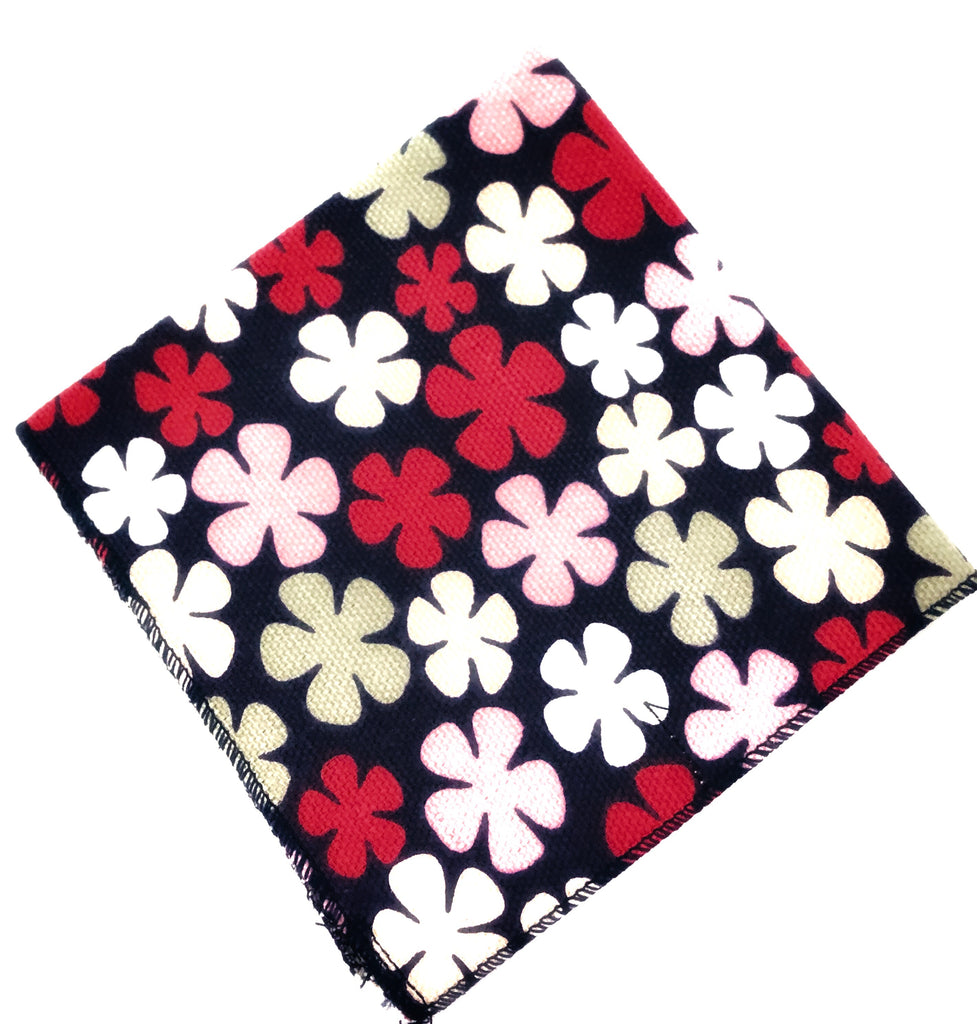 Pink and Navy Flower Pocket Square