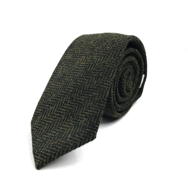 Green Wool Herringbone Tie