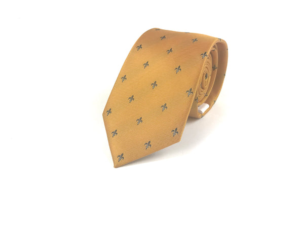 Yellow and Navy Fleur De Lis Tie