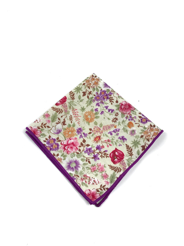 Purple Floral Pocket Square