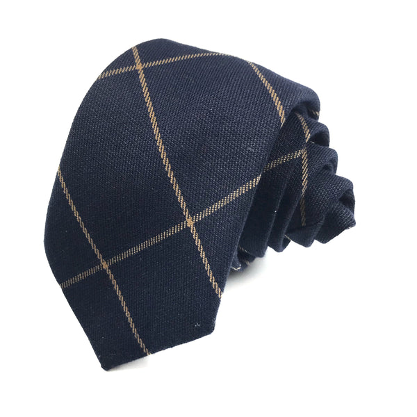 Navy and Tan Checkered tie