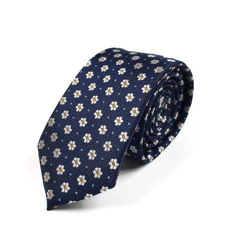 Navy and Yellow Floral Tie