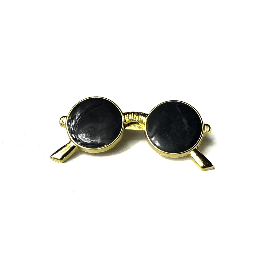 Black and Gold Glasses Lapel Pin
