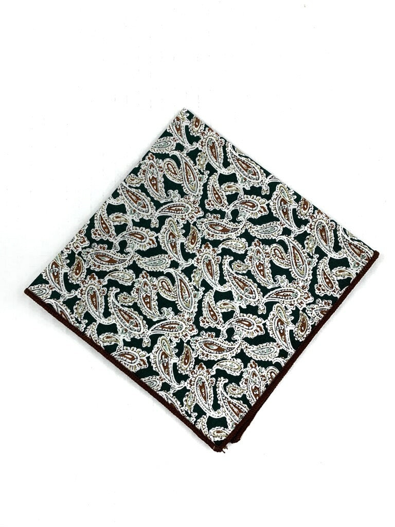 G+Co. Green and Tan Paisley Pocket Square