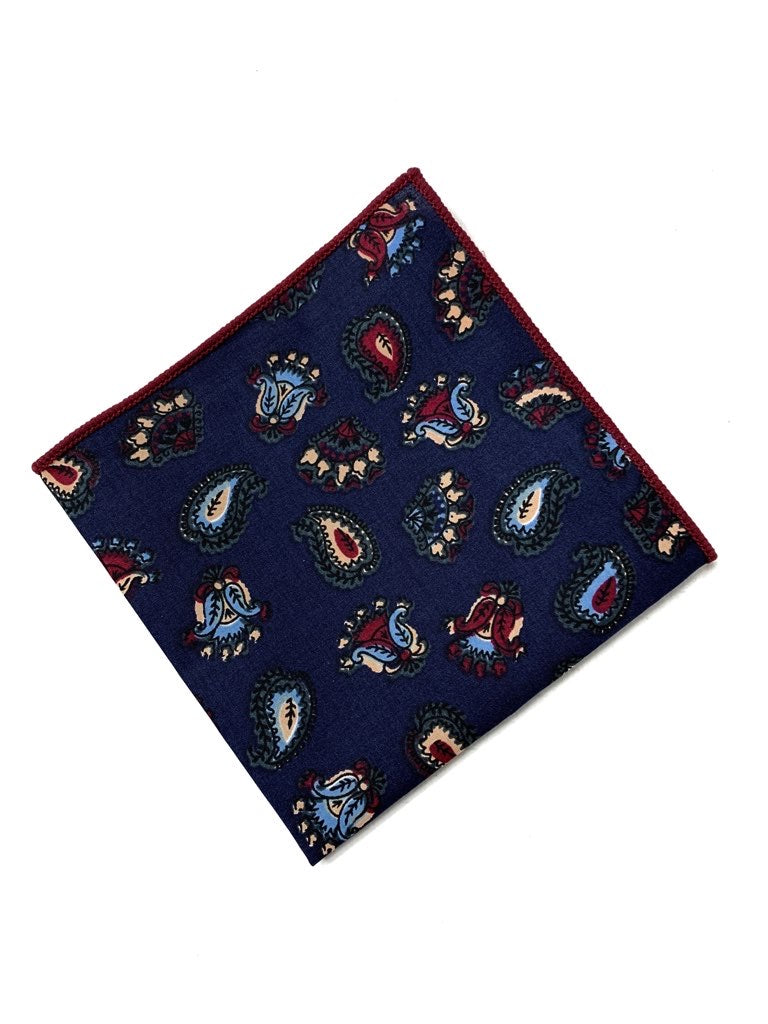 Navy and Red paisley pocket square