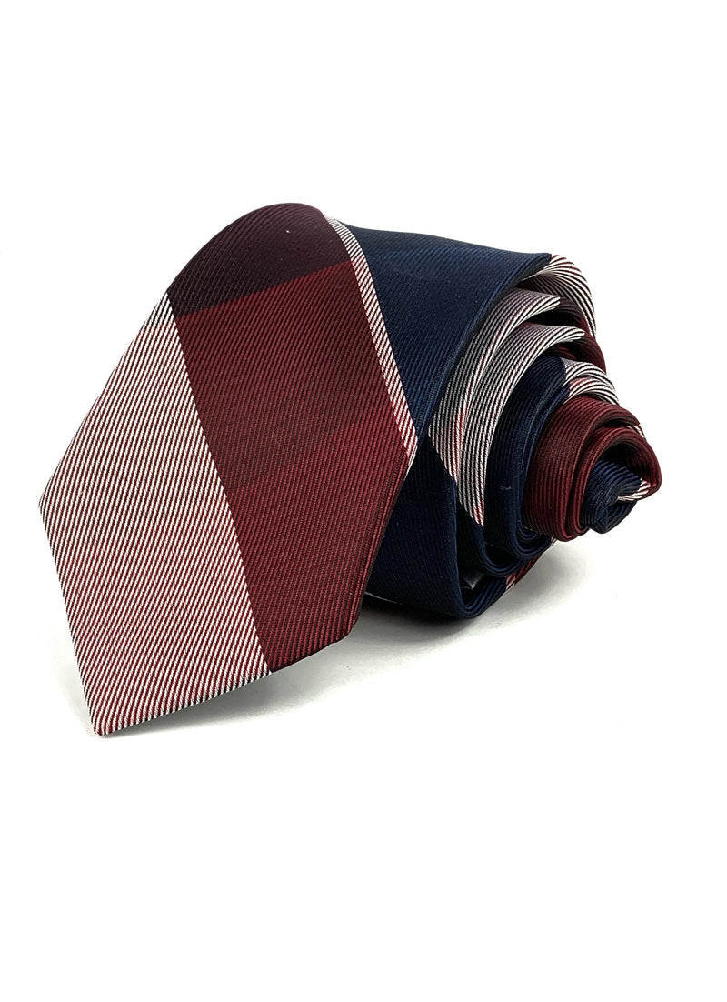 Burgundy and Navy striped tie