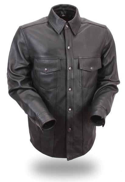 Leather Long Sleeve Mens Shirt