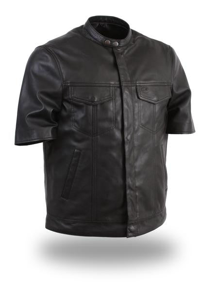 Leather Short Sleeve Mens Shirt
