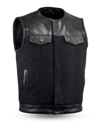 1DOWN Leather & Canvas Motorcycle Vest