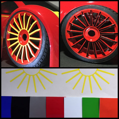 NEW 1:5 MCD XS5 17 Spoke Wheel  Vinyl Decal For (4) Wheels.