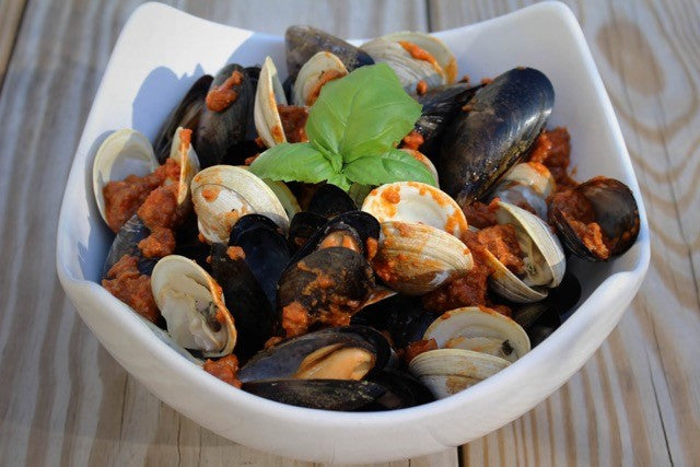 Clams and Mussels with Frescobene Sausage Ragu