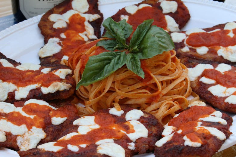 Chicken Parmigiana and Linguine with Frescobene Marinara Sauce