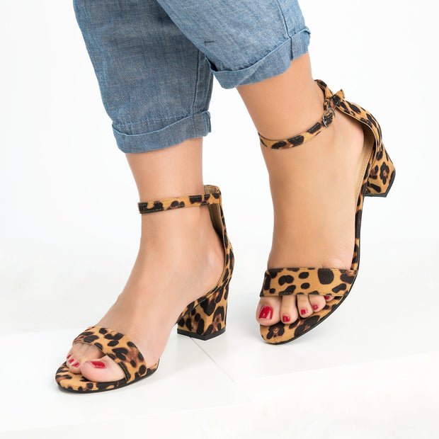 Leopard Block Heel Sandals