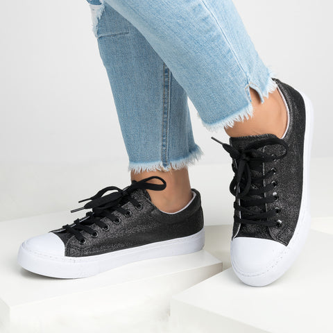 Glitter Casual Sneakers - Black