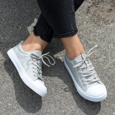 Glitter Casual Sneakers - Silver