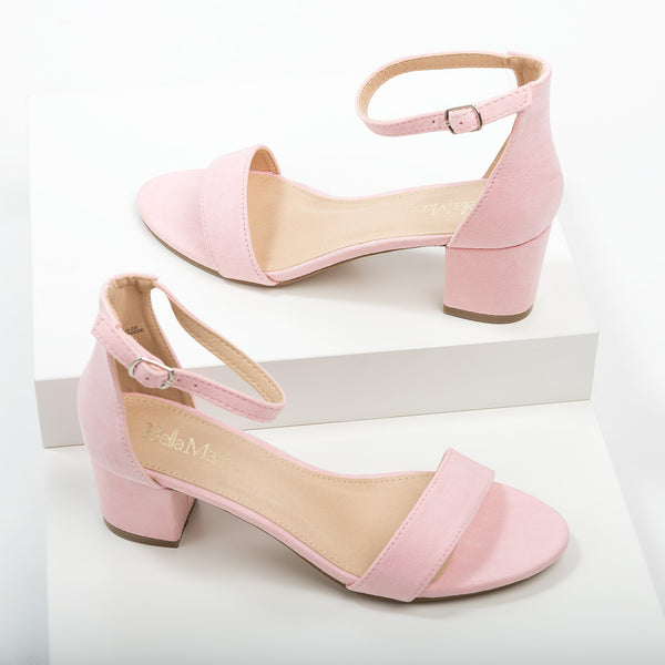 Ankle Strap Block Heel Sandals - Pink