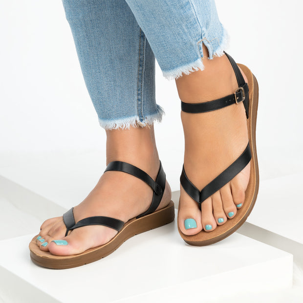 Ashley Black Flat Sandals