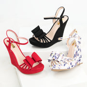 Bow Black Platform Wedges