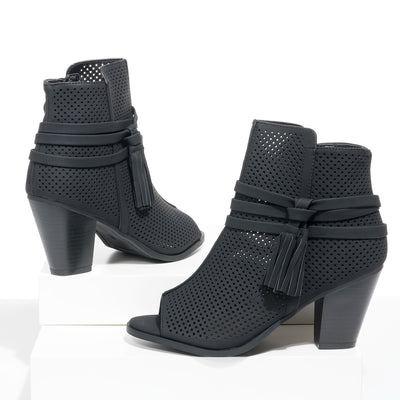 Open Toe Black Heeled Sandals