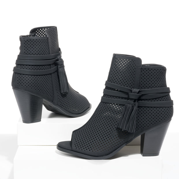 Open Toe Black Heeled Booties