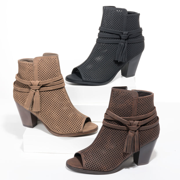 Open Toe Taupe Heeled Booties