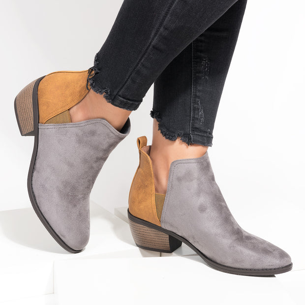 Victoria Cutout Grey Booties
