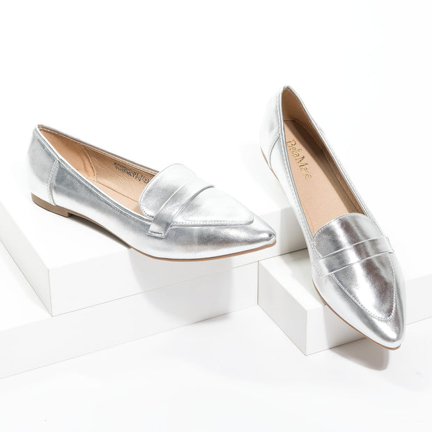 Pointed Silver Loafer Flats