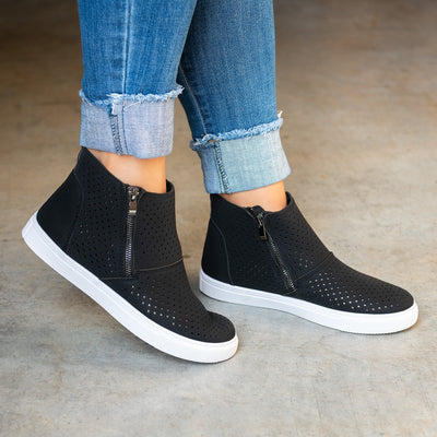 Perforated High Top Sneakers- Black