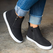 Perforated High Top Black Sneakers