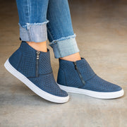Perforated High Top Navy Sneakers