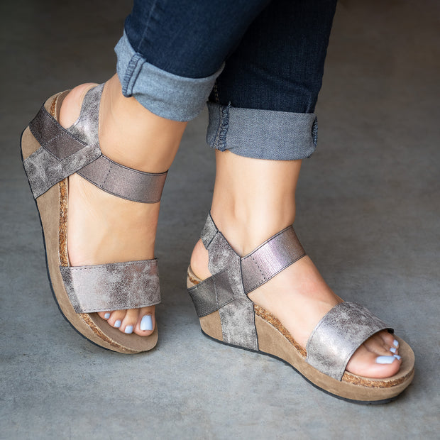 Strappy Pewter Low Heel Wedges