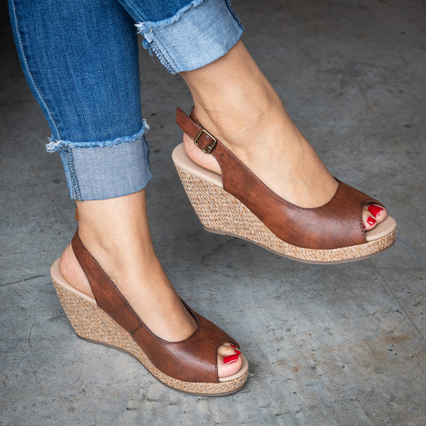 Slingback Whiskey Peep Toe Wedges