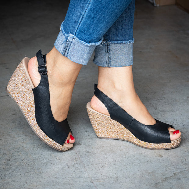 Slingback Black Wedges Sandals