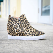 Exposed Zipper Leopard Sneakers