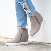 Exposed Zipper Taupe Wedge Sneakers