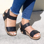 Strappy Black Low Heel Wedges