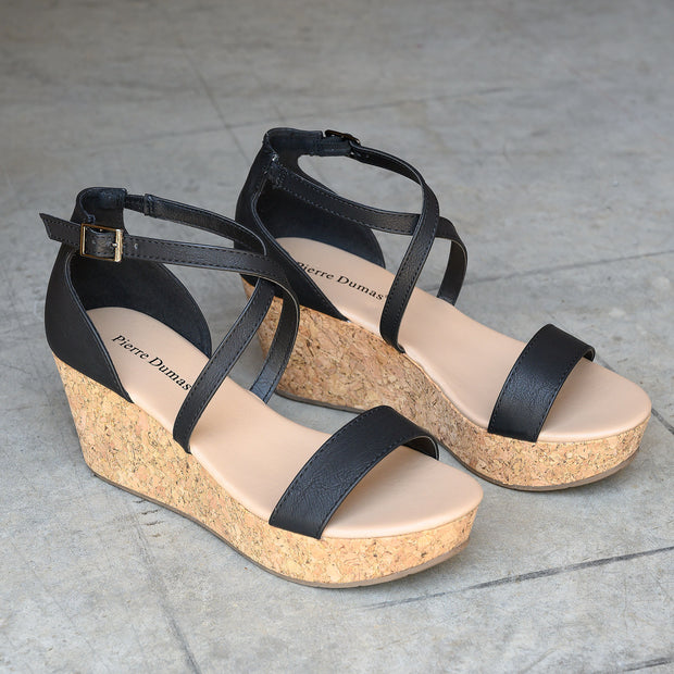 Cross Strap Cork Heel Black Wedges