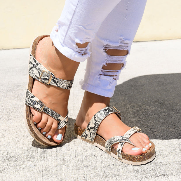 Criss Cross Snake Print Footbed Sandals