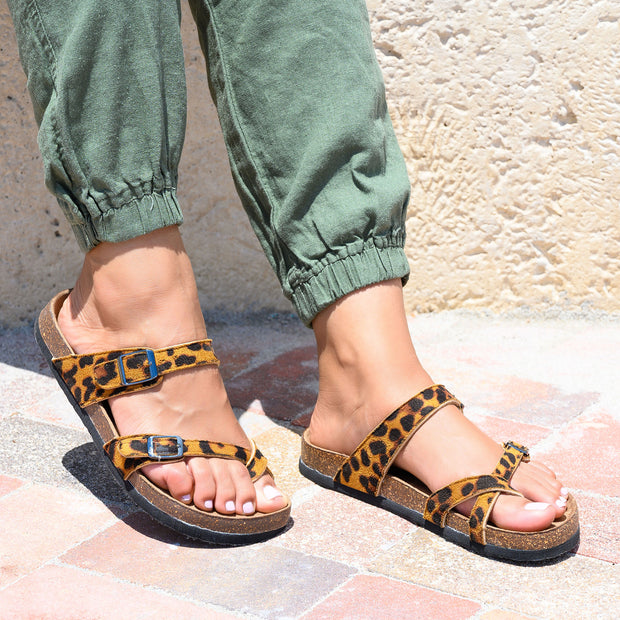 Cross Strap Cheetah Footbed Sandals