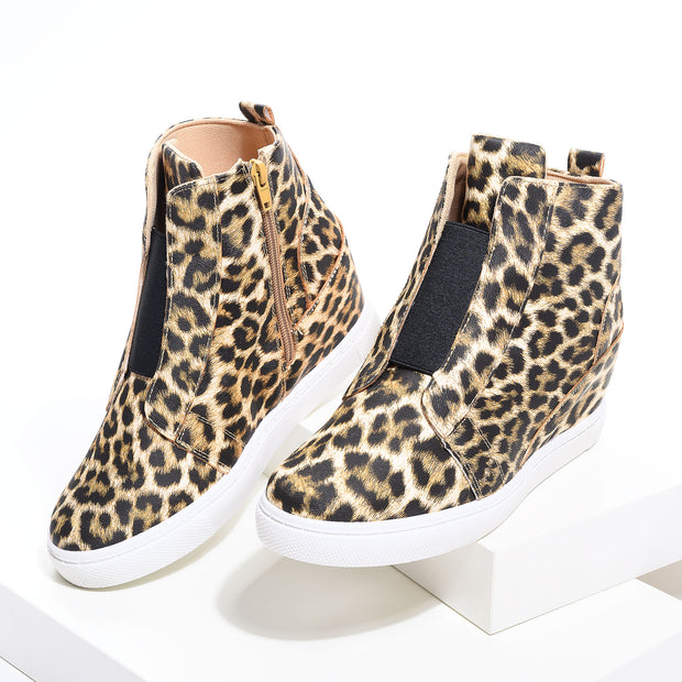 Hide Leopard Wedges Sneakers