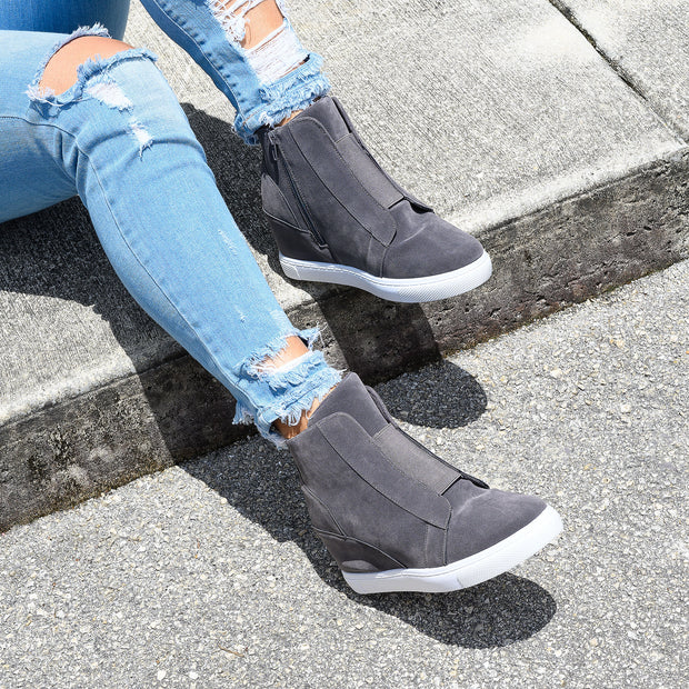 Hide Grey Wedges Sneakers